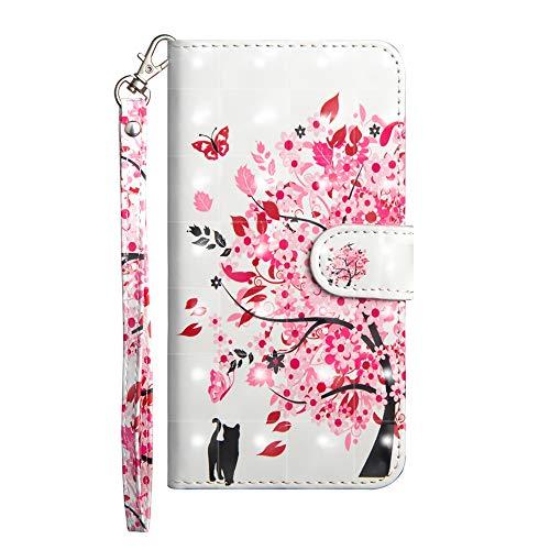 Sunrive Hülle Für WileyFox Spark X, Magnetisch Schaltfläche Ledertasche Schutzhülle Etui Leder Case Cover Handyhülle Tasche Schalen Lederhülle MEHRWEG(Baum Katze)