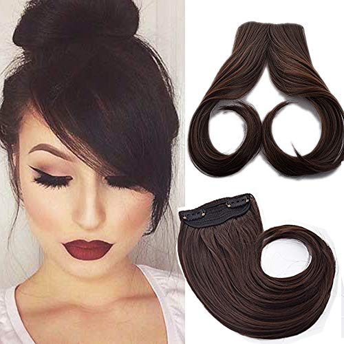 Frangia clip finta laterale extension frangetta fascia unica capelli lisci corti hair bang fringe hairpiece 30g, marrone cioccolato