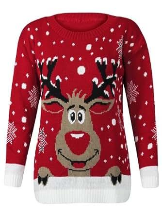 XpoZed Moda Fashion Factor – Damen Weihnachten Neuheit Pullover Top Rudolf Das Rentier Pullover