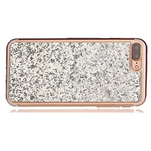 iPhone 7 Plus Hülle,iPhone 7 Plus Glitzer Hülle,Cozy Hut ® iPhone 7 Plus Luxury Hybrid Glitzer Bling Kristall [Exakt-Anpassen] , TPU Bumper Case Soft Silikon Gel Schutzhülle,Diamant Bling Weich TPU Sc weiß
