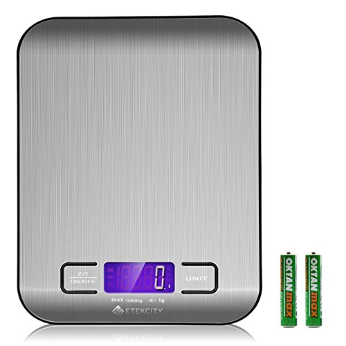 Etekcity Küchenwaage Edelstahl Digitale Briefwaage Hoch Präzision auf bis zu 1g (5kg Maximalgewicht),Tara-Funktion mit LCD Anzeige