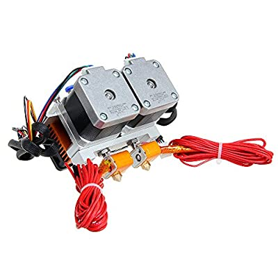3D printer MK8 dual nozzle extruder two-color two-nozzle all-metal extrusion head by DIKAVS