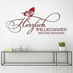 KLEBEHELD® Wandtattoo Herzlich Willkommen bei uns Zuhause | Spruch mit Schmetterling ... Größe 58x26cm, Farbe schwarz