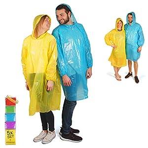 Cedelli® Rainwear Regenponcho |5er Set| Einweg mit EXTRA Langen Ärmeln & Kapuze | Wiederverwendbare Damen & Herren Regencapes für stürmisches Wetter!