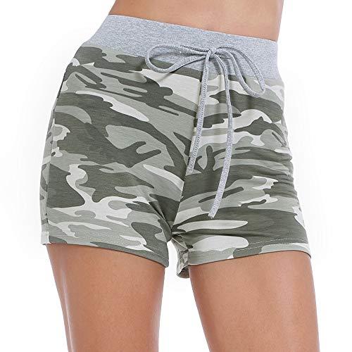 Cotton Knit Pyjama (ZEALOTPOWER Damen Shorts Camouflage Strapy Taille Sport Hot Pants Workout - - X-Groß)