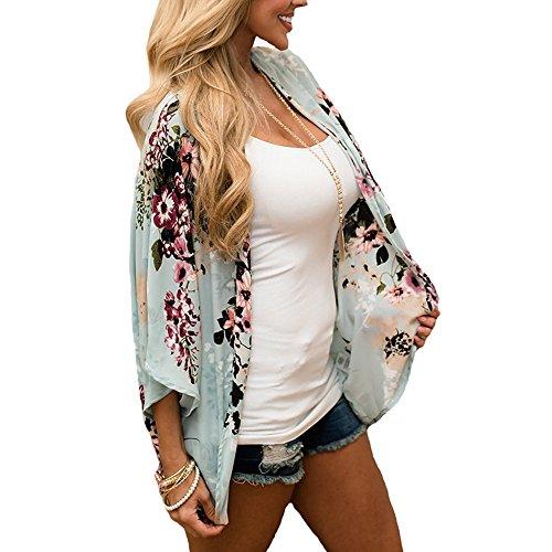 Kleidung Damen DAY.LIN Frauen Chiffon Floral Kimono lose halbe Hülse Schal Chiffon Cardigan Fünf-Punkte-Ärmel Chiffon Kimono-Cardigan (XL)