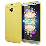NALIA Handyhülle für HTC One M8 M8S, Ultra-Slim Case Cover, Dünne Punkte Schutzhülle, Etui Handy-Tasche Back-Cover Bumper, TPU Silikon-Hülle für HTC One M8S M8 Smart-Phone - Mesh Gelb