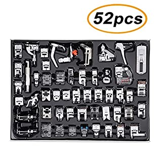 TopDirect 52pcs Professional Sewing Machine Presser Foot Set for Singer, Brother, Janome, JUKI, Toyota Low Shank Sewing Machine