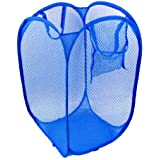 SAHAYA Polyester Big size Mesh/Net Laundry Basket, Bag Multipurpose Fold-able & Collapsible Pop-Up (38 X 38 X 70 Cm) for storage of Clothes, Toys (Random Color)