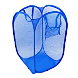 #7: SAHAYA Polyester Big size Mesh/Net Laundry Basket, Bag Multipurpose Fold-able & Collapsible Pop-Up (38 X 38 X 70 Cm) for storage of Clothes, Toys (Random Color)