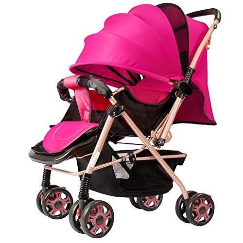 AZW Sonnenschutz-Kinderwagen-Tragetasche und Kinderwagen, Leichter Klapp-Buggy bis 25 kg Mit Liegeposition Liegend, Sonnenschutz-Vierrad-Kinderwagen,Pink