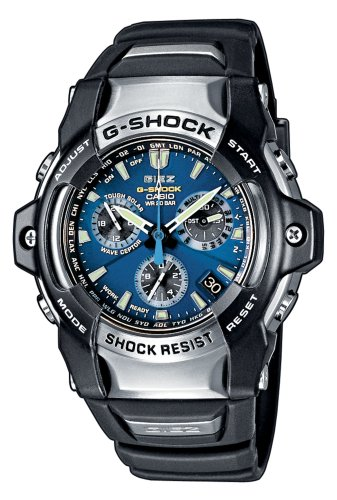 CASIO Men's Quartz Watch with Blue Dial Chronograph Display and Black Resin Strap GS-1100-2AER