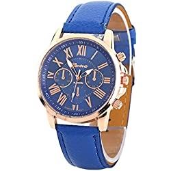 S&E? Women's Gold Plated Dial Plate Three-eyes Leather Strap Decor Wrist Watch
