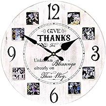 2cb91301fbfe Wu Reloj de Pared XL con Marco de Fotos en Estilo Vintage con 40 cm de