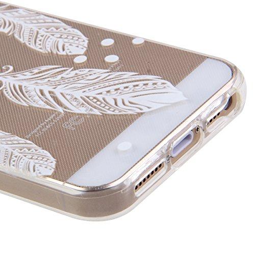 iPhone SE Hülle,iPhone 5S Hülle,iPhone 5 Hülle, iPhone SE / 5S / 5 Silikon Crystal Case Hülle mit Malerei Muster, SainCat Weiche Transparent Silikon Schutzhülle Hülle Gel Bumper Soft TPU Case Backcase Vier Federn