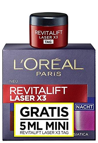 L'Oréal Paris RevitaLift Laser X3 Nachtpflege inklusiv Mini Tagespflege, 1er Pack (1 Stück)