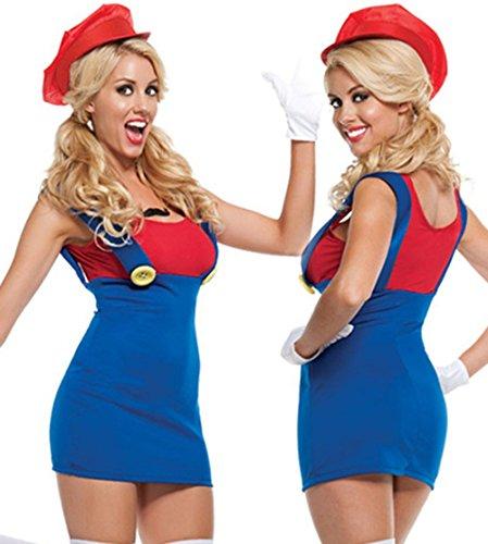 W-Play traumhaftes Cosplay Kostüme Costüme Reizwäsche für Damen Cosplay Super Mario Rollenspiel Kleidung (M, Rot) (Mario Figur Kostüme)