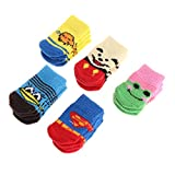 Autone 1 Set Pet Non Slip Socks, Blend Cotton Cute Dog Puppy Cat Soft Warm Winter Shoes (S)