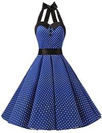 Dressystar Vestidos De Muejers Corto Halter Lunares Rretro Vintage 50s 60s Rockabilly Royal Blue XXXL