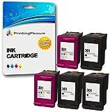 Printing Pleasure 5 XL Druckerpatronen für HP DeskJet 1000, 1050, 1050A, 1050S, 1055, 2000, 2050, 2050A, 2050S, 2050se, 2054A, 2510, 2540, 3000, 3010, 3050, 3050A, 3050S, 3050se, 3050ve, 3052A, 3054A, 3055A | kompatibel zu HP 301XL (CH563EE & CH564EE)