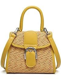 Fashion Straw Woven Tote Bag Contrast Color Crossbody Shoulder Handbag For Women (Yellow)