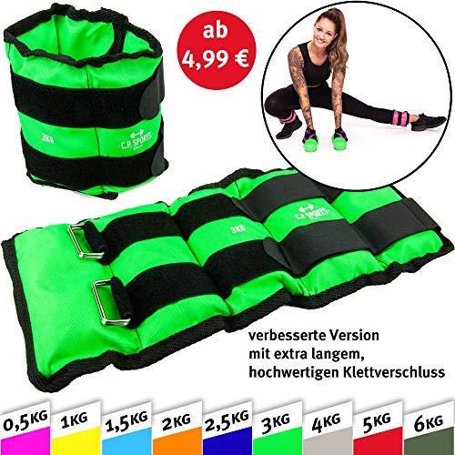 C.p.sports, set da 2 pesi, pesi per polsi e caviglie, 2 x 0,5 kg - 2 x 1 kg - 2 x 1,5 kg - 2 x 2 kg - 2 x 2,5 kg - 2 x 3 kg - 2 x 4 kg - 2 x 5 kg - 2 x 6 kg, pesi per braccia e gambe, paar-2,5kg