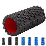 Massage-Yoga-Rolle ca. 15 x 33 cm hohl, Fitnessrolle Schaumstoffrolle Foam Roller (Schwarz genoppt)