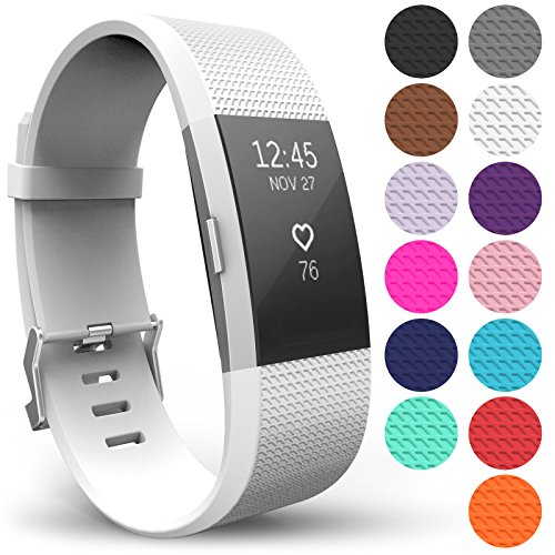 Yousave Accessories Armband für Fitbit Charge 2, Ersatz Fitness Armband und Uhrenarmband, Silikon Sportarmband und Fitnessband, Wristband Armbänder für Fitbit Charge2 - Klein, Weiß