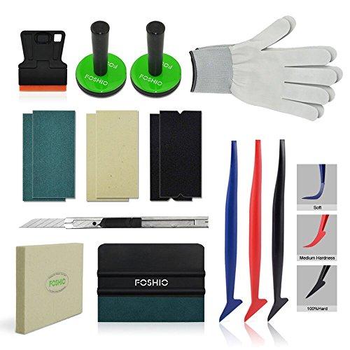 FOSHIO Profi Tönungsfolie Folierung Werkzeuge Set mit Rakel Filzkante Schaber Magnete Filz CutterMesser Handschuhe für Autofolierung, Car Wrapping