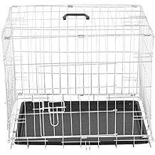 PawHut Jaula Plegable de Metal para Mascota Perro 2 Puertas Transportín 5 Medidas 2 Colores Opcional