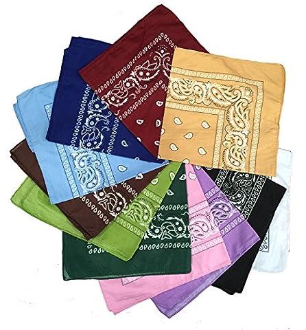 BOOLAVARD 100% Cotton 1pcs, 6pcs or 12pcs Pack Bandanas with Original Paisley Pattern Colour of Choice Headwear / Hair Scarf Neck Wrist Wrap Band Head Tie (12pcs Mixed Set 2)