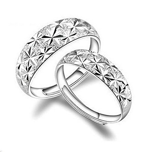 aiuin 2x-ring Silber Größenverstellbar Sternenhimmel Ringe Paar Geschenk Engagement Valentin Schmuck und Zubehör