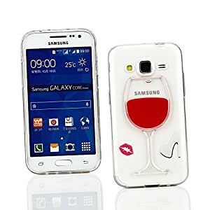 Kit Me Out FR Coque avec motif en liquide et en 3D Plastique pour Samsung Galaxy Core Prime G360 - rouge Verre à pied