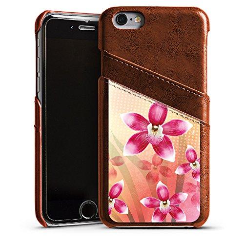 Apple iPhone 4 Housse Étui Silicone Coque Protection Orchidée Papillon Fleur Étui en cuir marron