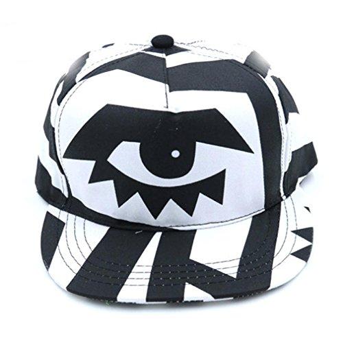 Verstellbare Baseball Cap, moginp schwarz und weiß über Big Eyes Print Snapback Hip Hop flach Hat geschwungene BBOY - Bboy-baseball-cap