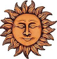 sicilia bedda - Sole in Terracotta - Realizzato in Sicilia con Gancio da Parete - Prodotto Artigianale (18 Cen