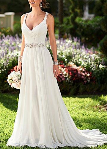 BRL MALL Damen A-Linie mit V-Ausschnitt Chiffon Long Beach Brautkleider Ivory