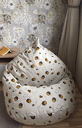 Sitzsack Bienen Muster Liebe Geschenk Leinen Bezug Wohnzimmer Möbel Natürliche Stoffe Biene Maja Bodenkissen Originelle Geschenkidee Handgemacht OHNE FÜLLUNG (Gelbe Wohnzimmer Möbel)