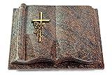 MEMORUM Grabmale Grabbuch, Grabplatte, Grabstein, Grabkissen, Urnengrabstein, Liegegrabstein Modell Antique 40 x 30 x 8-9 cm Paradiso-Granit, Poliert inkl. Gravur (Bronze-Ornament Kreuz/Rose)