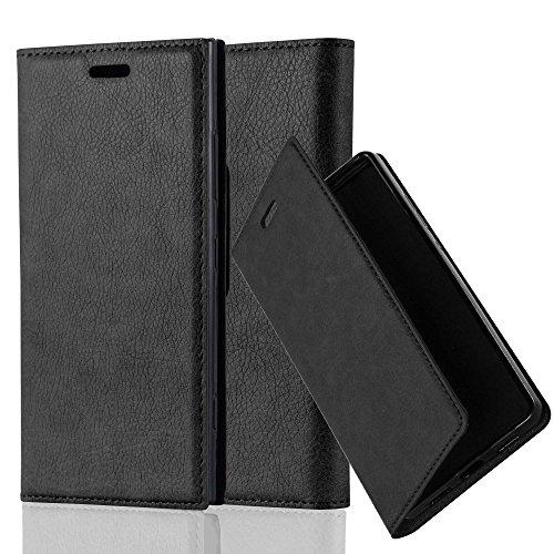Nokia Lumia 920 Hülle in SCHWARZ von Cadorabo - Handyhülle mit unsichtbarem Magnetverschluss Standfunktion und Kartenfach Case Cover Schutzhülle Etui Tasche Book Klapp Style in NACHT SCHWARZ Nokia Lumia 920 Hülle Case