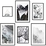 decomonkey   Poster 6er - Set schwarz-weiß Abstrakt Kunstdruck Wandbild Print Bilder Kunstposter Wandposter Posterset