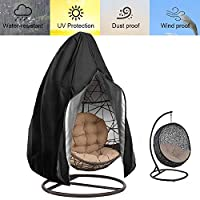 FLYMEI Patio Hanging Chair Covers, Large Wicker Egg Swing Chair Covers, Heavy Duty Weather Resisatnt Outdoor Chair Covers (Black)