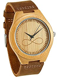 wonbee la madera de bambú de los hombres relojes con correa de piel de vaca Natural y infinity diseño, marrón, se envía en una caja, Bono 2 pulseras de madera