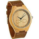 WONBEE orologio da uomo in bambù di design da uomo simbolo infinito con cinturino in pelle pieno fiore