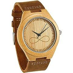 Idea Regalo - WONBEE orologio da uomo in bambù di design da uomo simbolo infinito con cinturino in pelle pieno fiore