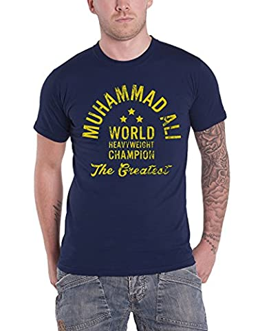 Muhammad Ali T Shirt World Heavyweight Champion nouveau officiel Homme Bleu