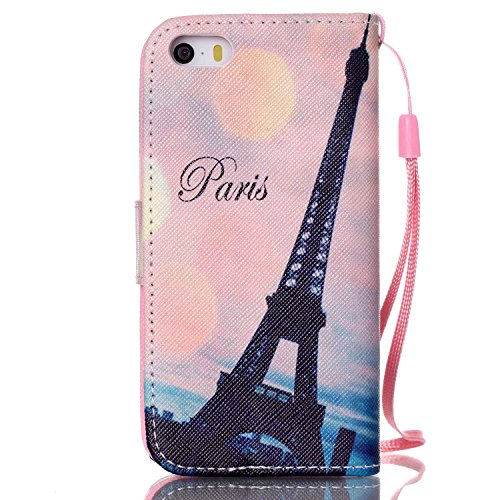 Meet de Apple iPhone 5S Bookstyle Étui Housse étui coque Case Cover smart flip cuir Case à rabat pour Apple iPhone 5S Coque de protection Portefeuille - papillon de pissenlit tour penchée