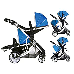DUELLETTE 21 BS Twin Double Pushchair Tandem Stroller buggy 2 seat units, compatible with Kids Kargo safety Pod Car seat OR maxi cosi clips or Britax Baby safety Car seat. (sold separately) 2 Free Teal footmuffs 2 Free rain covers Black /Teal Silver chassis Ideal for Twins or Baby Toddler by Kids Kargo   2