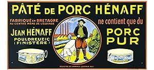 PLAQUE METAL 40X20 cm PUB RETRO PATE DE PORC HENAFF FABRIQUE EN BRETAGNE