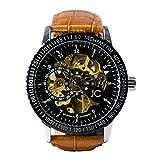 Reloj de pulsera automático de Jean Constantine, con mecánica, engranajes y esqueleto visibles, en negro y dorado, con correa de cuero auténtico (marrón)